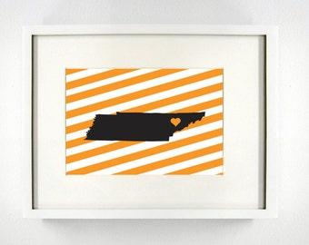Knoxville, Tennessee State Giclée Map Art Print - 8x10 - Graduation Gift Idea - Dorm Decor