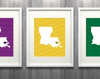 Set of Three Mardi Gras Louisiana Glicée Map Art Prints - 8x10 - Laissez le Bon Temps Rouler  - Unique and Personalized Gift Idea