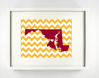 Landover, Maryland State State Giclée Map Art Print - 8x10 -  Burgundy and Gold Print