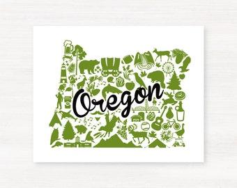 Portland, Oregon Landmark State Giclée Map Art Print  - 8x10 - Green and Gray University Map Art - Graduation Gift Idea - Dorm Decor