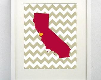 Santa Clara, California State Giclée Map Art Print  - 8x10 - Graduation Gift Idea - Dorm Decor
