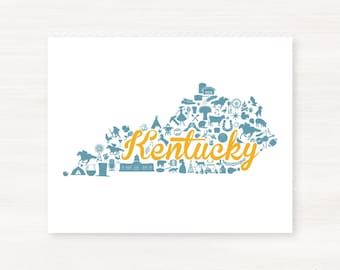 Kentucky Landmark Custom State Map Art Print - 8x10 Giclée Print - Great Graduation Gift Idea - Unique Dorm Decor