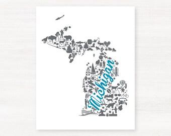 Michigan Landmark Custom State Map Art Print - 8x10 Giclée Print - Great Graduation Gift Idea - Unique Dorm Decor