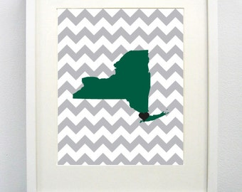 New York State Print State Giclée Map Art Print - 8x10 -  Hunter Green and Gray Prints - Jets- Graduation Gift Idea - Dorm Decor