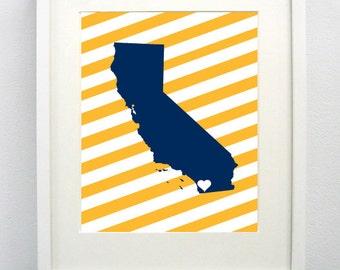 San Diego, California State Giclée Map Art Print - 8x10 -  Blue and Gold Print- Graduation Gift Idea - Dorm Decor