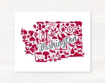 Pullman, Washington Landmark State Giclée Print - 8x10 - Graduation Gift Idea - Dorm Decor