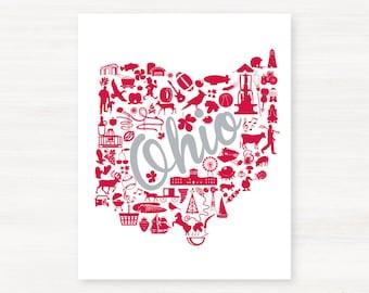 Columbus, Ohio Landmark State Giclée Map Art Print  - 8x10 - Graduation Gift Idea - Dorm Decor