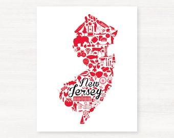 New Brunswick, New Jersey Landmark State Giclée Print - 8x10 - Graduation Gift Idea - Dorm Decor