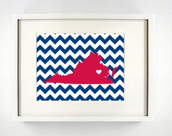 Richmond, Virginia State Giclée Map Art Print  - 8x10 - Graduation Gift Idea - Dorm Decor