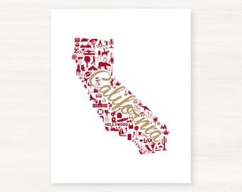 San Francisco, California Landmark State Giclée Map Art Print - 8x10 -  Red and Gold Print