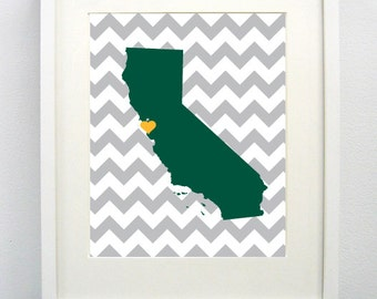 San Francisco, California State Giclée Map Art Print  - 8x10 - Graduation Gift Idea - Dorm Decor