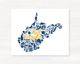 Morgantown, West Virginia Landmark State Giclée Print - 8x10 - Graduation Gift Idea - Dorm Decor