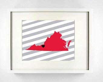 Radford, Virginia State Giclée Map Art Print  - 8x10 - Graduation Gift Idea - Dorm Decor