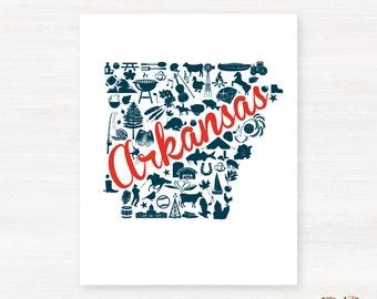 Arkansas Landmark Custom State Map Art Print - 8x10 Giclée Print - Great Graduation Gift Idea - Unique Dorm Decor
