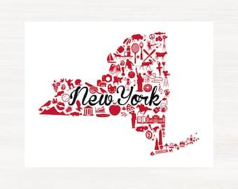 Ithaca, New York Landmark State Giclée Map Art Print  - 8x10 - Graduation Gift Idea - Dorm Decor