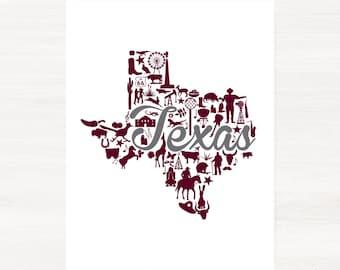 College Station, Texas Landmark State Giclée Print - 8x10 - Graduation Gift Idea - Dorm Decor