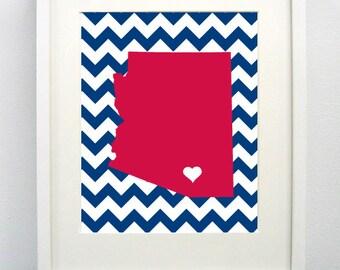 Tucson, Arizona State Giclée Map Art Print  - 8x10 -  Graduation Gift Idea - Dorm Decor