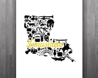 Grambling, Louisiana Landmark State Giclée Map Art Print - 8x10 - Graduation Gift Idea - Dorm Decor