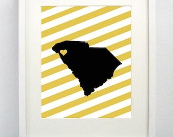 Anderson, South Carolina State  Giclée Print - 8x10 - Graduation Gift Idea - Dorm Decor