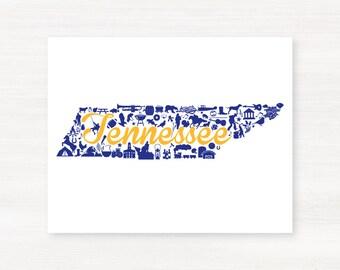 Sewanee, Tennessee Landmark State Giclée Map Art Print  - 8x10 - Graduation Gift Idea - Dorm Decor