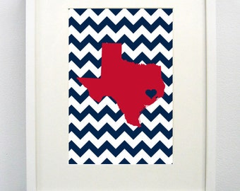 Houston, Texas State State Giclée Map Art Print - 8x10 -  Blue and Red Print