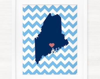 Custom Maine Glicée Map Art Print - 8x10 - Pick your City, Background and Color - Graduation Gift Idea - Dorm Decor- Unique Gift Idea