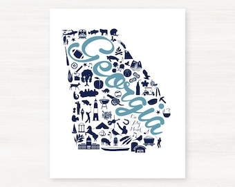 Georgia Landmark Custom State Map Art Print - 8x10 Giclée Print - Great Graduation Gift Idea - Unique Dorm Decor