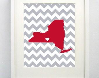 Ithaca, New York State Giclée Map Art Print  - 8x10 - Red and Gray Map Art - Graduation Gift Idea - Dorm Decor