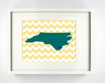 Wilmington, North Carolina State Giclée Map Art Print  - 8x10 - Graduation Gift Idea - Dorm Decor