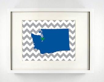 Seattle, Washington State Giclée Map Art Print - 8x10 -  Blue and Green Print
