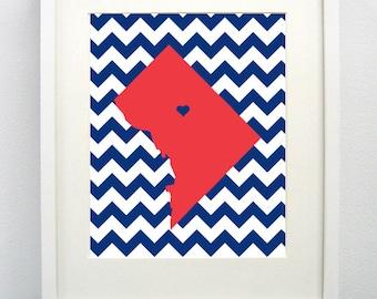 Washington DC, Maryland State Giclée Map Art Print  - 8x10 - Graduation Gift Idea - Dorm Decor
