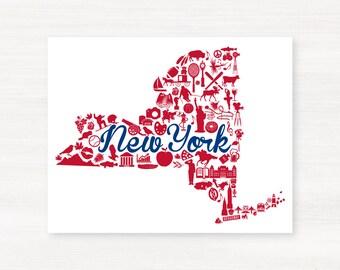 New York State Print Landmark State Giclée Map Art Print - 8x10 -  Red and Dark Blue Prints - Giants