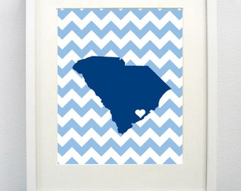 Charleston, South Carolina State Giclée Map Art Print  - 8x10 - Graduation Gift Idea - Dorm Decor
