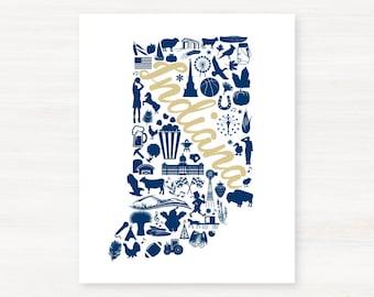Angola, Indiana Landmark State Giclée Map Art Print  - 8x10 - Graduation Gift Idea - Dorm Decor