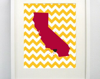 Los Angeles, Southern California State Giclée Map Art Print  - 8x10 -  Graduation Gift Idea - Dorm Decor