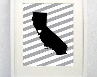 Oakland, California State State Giclée Map Art Print - 8x10 -  Black  and Gray Print