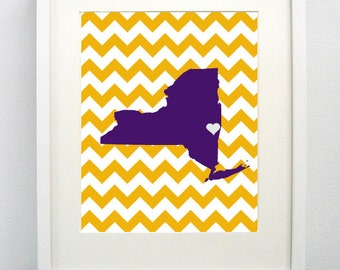 Albany, New York State Giclée Map Art Print  - 8x10 - Graduation Gift Idea - Dorm Decor