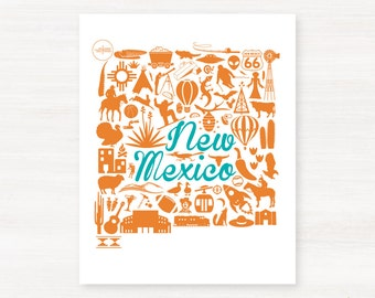 New Mexico Landmark Custom State Map Art Print - 8x10 Giclée Print - Great Graduation Gift Idea - Unique Dorm Decor