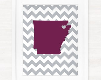 Custom Arkansas State Glicée Map Art Print - 8x10 - Pick your City, Background and Color - Unique and Personalized Gift Idea