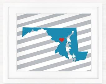 Custom  Maryland Glicée Map Art Print - 8x10 - Pick your City, Background and Color - Graduation Gift Idea - Dorm Decor