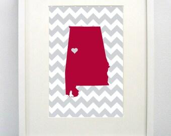 Tuscaloosa, Alabama State Giclée Print- 8x10 - Crimson Map Print - Graduation Gift Idea - Dorm Decor