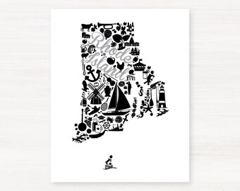 Providence, Rhode Island  Landmark State Giclée Print - 8x10 - Graduation Gift Idea - Dorm Decor