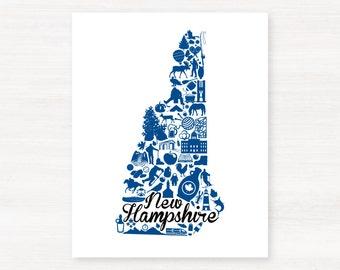 Durham, New Hampshire Landmark State Giclée Map Art Print - 8x10 - Graduation Gift Idea - Dorm Decor