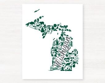 East Lansing, Michigan Landmark State Giclée Map Art Print  - 8x10 - Graduation Gift Idea - Dorm Decor
