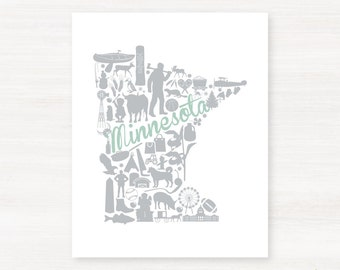 Minnesota Custom Landmark Custom State Map Art Print - 8x10 Giclée Print - Great Graduation Gift Idea - Unique Dorm Decor