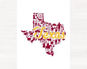 Kerrville, Texas Landmark State Giclée Map Art Print - 8x10 - Graduation Gift Idea - Dorm Decor