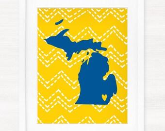Ann Arbor, Michigan Typography State Giclée Print - 8x10 -  Graduation Gift Idea - Dorm Decor