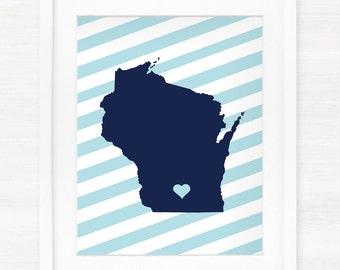 Custom Wisconsin Glicée Map Art Print - 8x10 - Pick your City, Background and Color - Graduation Gift Idea - Dorm Decor