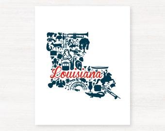 Louisiana Landmark Custom State Map Art Print - 8x10 Giclée Print - Great Graduation Gift Idea - Unique Dorm Decor