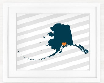Custom Alaska State Glicée Map Art Print - 8x10 - Pick your City, Background and Color - Graduation Gift Idea - Dorm Decor